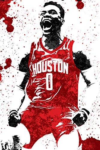 """SMARTZONE Westbrook Houston Basketball Art Wall Indoor Room Poster - Water Resistant Poster (Size: 24"""" x 36"""")"""