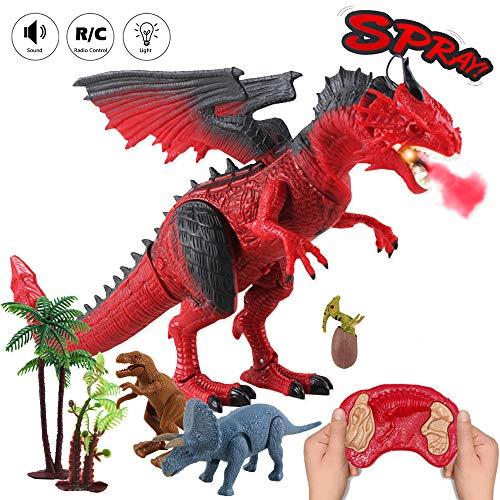 deAO Ferngesteuertes Dinosaurierspielzeug mit Gehen, simuliertem Brüllen, Feueratmungseffekt und Kopfschüttelfunktionen für Kinder - 3 Mini-Dino-Figuren und Zubehör enthalten (rot)