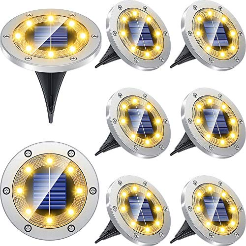 Biling Solar Lights Outdoor Grid Design Shell, Solar Powered Ground Lights Outdoor Waterproof, 8 LED Solar Disk Lights for Pathway Garden Yard Landscape Patio Lawn - Warm White (8 Pack)