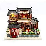 WSYGHP DIY casa de muñecas de madera Kit grande chino retro muñeca casa de madera casas dormitorio miniatura casa de muñecas casa de muñecas kit de muebles jugetes para ninos pequeña casa