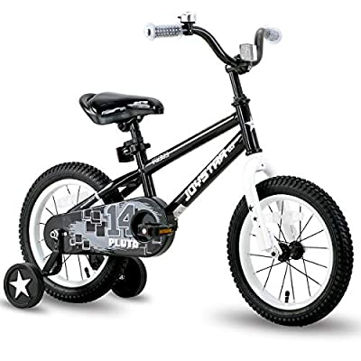 JOYSTAR 16 Inch Pluto Kids Bike with Training Wheels for Ages 4 5 6 7 Year Old Boys Girls Toddler Children BMX Bicycle Black