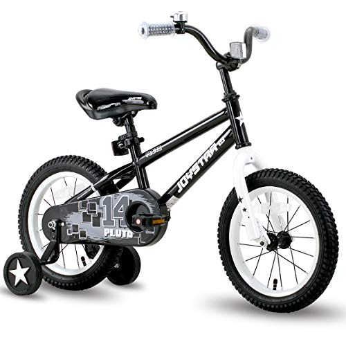 JOYSTAR 14 Inch Pluto Kids Bike with Training Wheels for Ages 3 4 5 Year Old Boys Girls Toddler Children BMX Bicycle Black