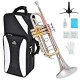 EASTROCK Bb Trumpet Cupronickel Intermediate Double-Braced Trumpet Instrument with Carrying Case,Five Legs Trumpet stand,Gloves, 7C Mouthpiece