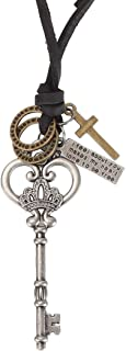 Vintage Retro Crown Key Cross Crown Pendant Charm Necklace Brown Leather Chain Cord Adjustable Necklace 18'' to 32''