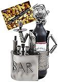 Brubaker Wein Flaschenhalter Barkeeper Metall Skulptur mit Geschenkkarte