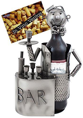 Brubaker - Soporte para botellas de vino (metal, con tarjeta de regalo)