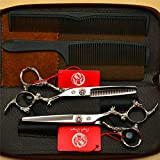 Ysss Silver Dragon Griff Friseurschere flach geschnittene Pony geschnittene Zähne dünn geschnitten...