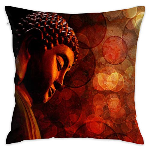 Bronze Zen Buddha Statue Meditating Blurred Decorative Throw Pillow Cover Hidden Zipper Closure Cushion Case for Home Sofa Bedroom Car Chair House Party Indoor Outdoor 18 X 18 Inch 45 X 45 cm