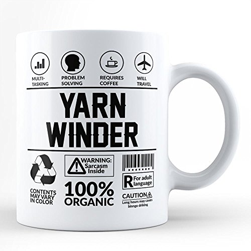 Funny Sarcasm Mug For Best Yarn Winder Gift/For Self For Friend Colleague Co-Worker Coffee Lover Yarn Winder Neighbour White Coffee Mug By HOM