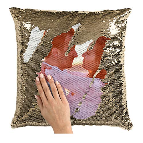 Family Photo Sequin Cushion Cover Custom Image Reversible Sequin Mermaid Pillowcase Birthday Decorative Pillow Gift Halloween (Champagne+Single Side)