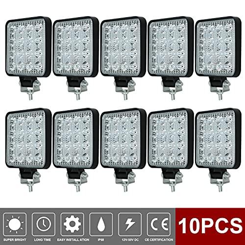 10PCS 4inch 48W Phare de Travail à LED 4800LM Feux de Recul Led 12v, Phare Led Projecteurs pour voiture, tracteur bateau, 12-24v camion