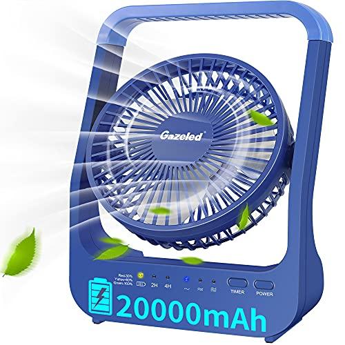 GazeledBatteryPoweredFan,20000mAh CampingFan, Rechargeable Fan, PortableFan forTents,200HSuperLongLastingUSBFanforHurricaneSeason,,2/4HoursTimer,3Speed