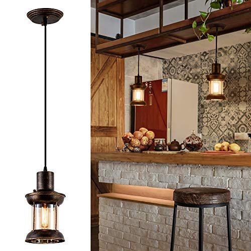Lámpara Colgante de Vidrio Vintage, LULING Rústico Nórdico Retro Metal Pintura Negra Color Luz Colgante para Restaurante Hogar Bar Dormitorio Pasillo de la Cama Decorado (Sin Bombilla)
