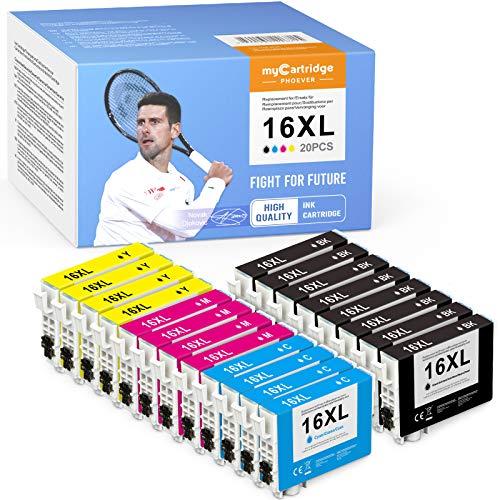 myCartridge PHOEVER 20 cartuchos de tinta compatibles con Epson 16XL 16 XL para Epson Workforce WF2630 WF2760 WF2540 WF2660 WF2750 WF2650 WF2510 WF2520 WF2530 WF2010