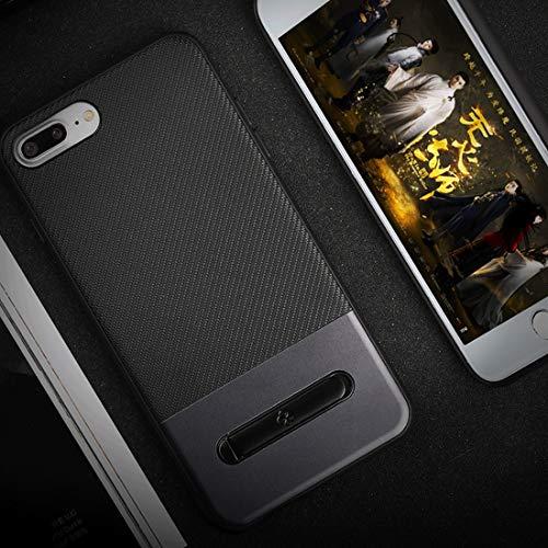 YIHUI Funda Protectora For iPhone Plus 8 y 7 Antideslizante Cubierta Protectora del Caso de TPU + PC Plus Twill Textura Volver con magnética sostenedor del Anillo de Metal (Color : Grey)