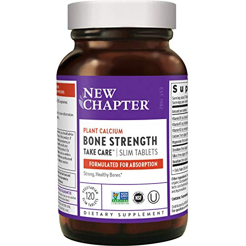 New Chapter Calcium Supplement – Bone Strength Whole Food Calcium with Vitamin K2 + D3 + Magnesium, Vegetarian, Gluten Free 120 Count (40 Day Supply)