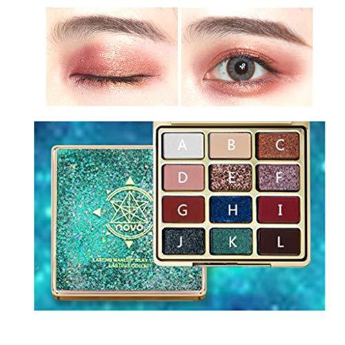 wyxhkj Ombre à paupières Novo maquillage fard à paupières palette de fards à paupières cosmétique fard à paupières 12 couleurs (C)