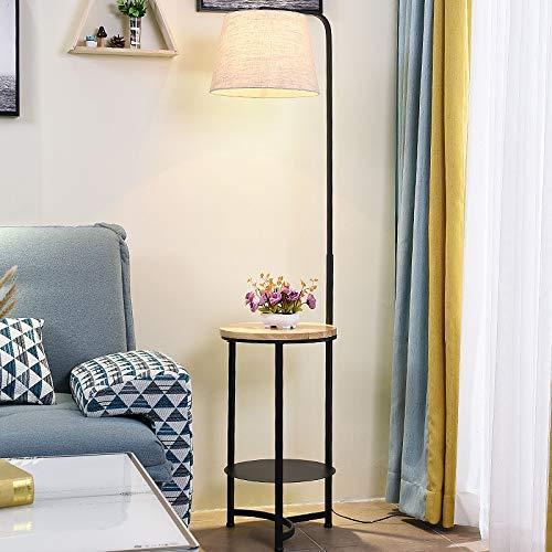 WUYUESUN. Lámpara de pie Nordic sencilla creativa y moderna, de madera, E27, LED, para salón, restaurante, dormitorio, hotel, color negro