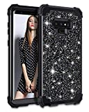 Casetego Compatible Galaxy Note 9 Case,Glitter Sparkle Bling Three Layer Heavy Duty Hybrid Sturdy Armor Shockproof Protective Cover Case for Samsung Galaxy Note 9(2018),Shiny Black