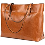 Kattee Vintage Genuine Leather Tote Shoulder Bag With Adjustable Handles (Light Brown)