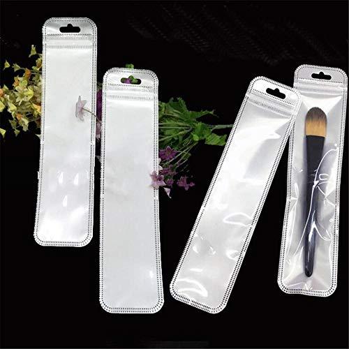 xingxing Industrial Hardware 50 piezas 5,5 x 22 cm plástico con cierre de cremallera, bolígrafo Ben autosellado de papelería para maquillaje (color: blanco perlado)