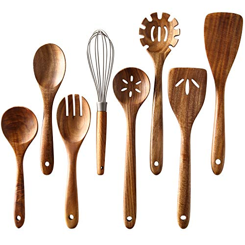 Wooden Cooking Utensils Set of 8,Tmkit Wooden Cooking Tools and storage wooden barrel- Natural Nonstick Hard Wood Spatula and Spoons - Durable,Wooden spoons for cooking