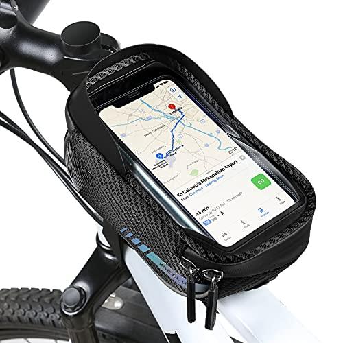 UBORSE Borsa da Manubrio per Bicicletta con Touch Screen e Visiera Parasole, Borsa per Tubo Anteriore per Bici Impermeabile e Riflettente, Borsa per Cellulare, Nero