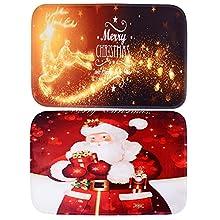 BETESSIN 2pcs Felpudo Navidad 40*60cm Alfombrilla Puerta Entrada Casa Original Felpudo Entrada Personalizada Alfombra Navideño para Salón Baño Decoración Casa