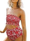 Stevemary Las Mujeres Lindas de Cintura Alta sin Tirantes de Bikini Fruncido Establece Traje de ba?o Traje de ba?o un Rojo Grande