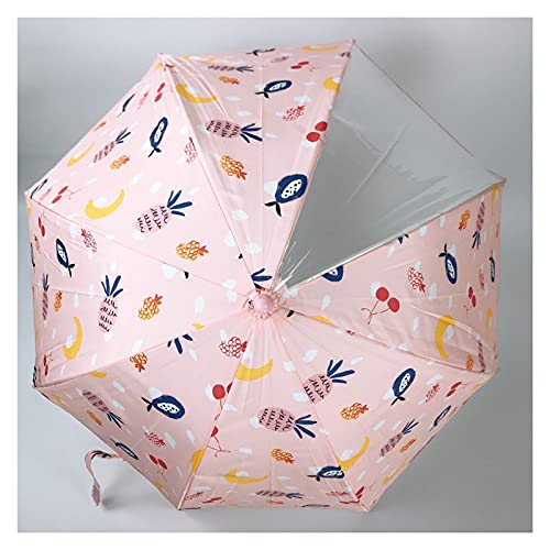 YSJJAXR Paraguas Sombrilla 6 Color Niños Paraguas 8 Bone Nordic Lindo Dibujos Animados Animal Paraguas Piña Pullo Paraguas Impermeable (Color : Pink with Pineapple)