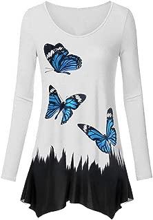 BBZUI Women Fashion Animal Print Round Neck Long T-Shirt Ladies Skirt Blouse Tops