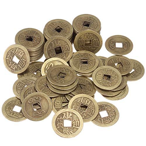 ANCIRS 100 Stück chinesische Feng Shui Münzen, antikes Bronze, Glücksbringer, asiatische Themen-Dekoration, für Gesundheit und Reichtum – 2,5 cm