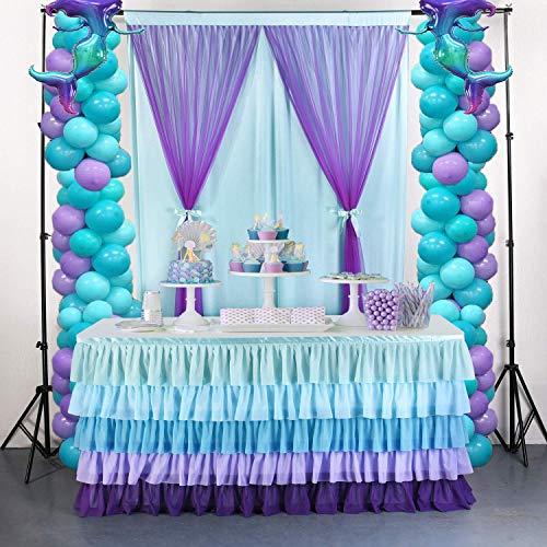 NSSONBEN Falda de tul con tutú azul degradado, decoración de mesa para baby shower, baby shower, boda, cumpleaños, cumpleaños infantil, decoración de baby shower (4.5 m, 427 cm x 77 cm)