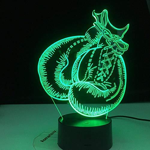 Guantes de boxeo Luz táctil 3D Control remoto Visión 3D Luz nocturna 3 pilas Luz USBLED