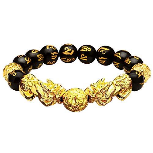 1 pulsera de cuentas de obsidiana negra Feng Shui Pi Xiu de la riqueza de la buena suerte de joyería
