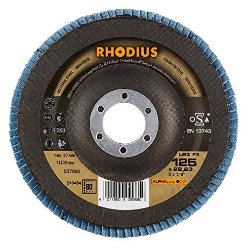 RHODIUS INOX Fächerschleifscheiben LSZ F3 Ø 125 mm K80 für Winkelschleifer Schleifmopteller 5 Stück
