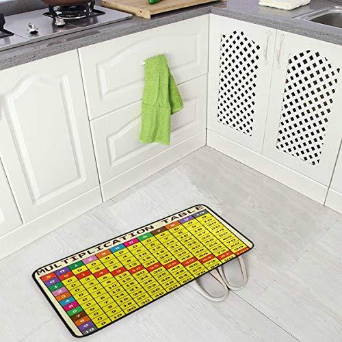 Mnsruu Yellow Multiplication Table Non Slip Kitchen Floor Mat Kitchen Rug for Entryway Hallway Bathroom Living Room Bedroom 50 x 100 cm(1.7' x 3.3')