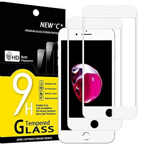 """NEW'C Lot de 2, Verre Trempé Compatible avec iPhone 7 et iPhone 8 et iPhone Se 2020 (4.7"""") Integral Couverture Complète Film Protection écran en Blanc Anti Rayures Ultra résistant dureté 9H"""