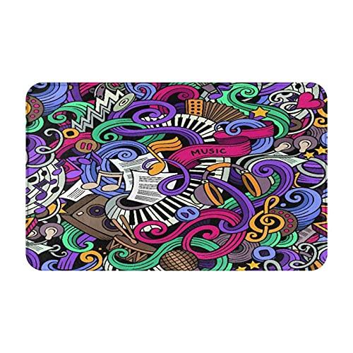 CONICIXI Felpudo de Entrada Interior Alfombra Instrumentos abstractos dibujados a mano con temática sic Micrófono Batería Teclado Stradivarius Antideslizante Tapete para Puerta para Cocina baño balcón