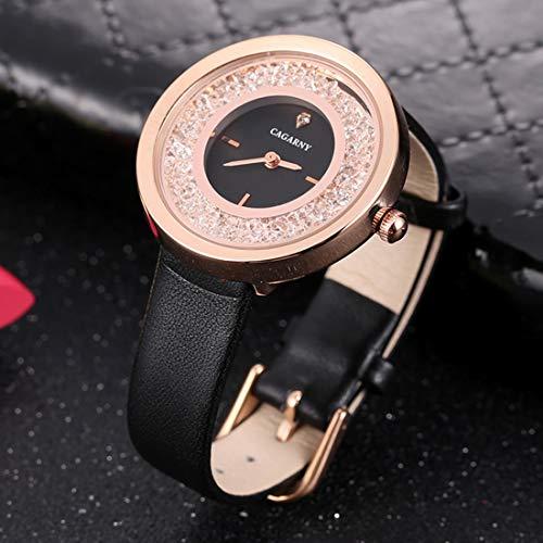 Somviersb 6878 Moda Resistente al Agua Mujeres Reloj de Pulsera de Cuarzo con Banda de Cuero Deportes Senderismo Impermeable Caminar Smart Digital Watch Soporte de bajo Poder (SKU : Wa3216bjb)