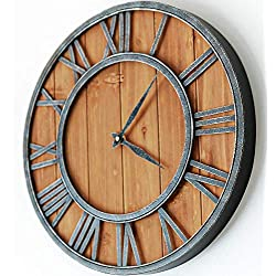 "ModiVerza - 18"" Large Wall Clock - Farmhouse Style - Natural Wood - Quartz - Vintage Metal Trim - Rustic Kitchen Decor - Battery Powered - Home Decor - Barn - Noiseless Big Wall Clock - Shiplap"