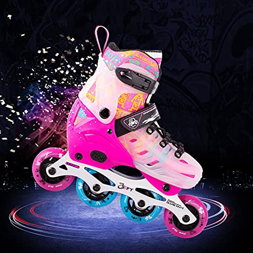 URBBR Inline Skates Kinder, Inliner für Kinder Verstellbar, 8 LED-Blinkräder, ABEC-7 Chrome Kugellager, Klingen Inliner Damen für Mädchen, Jungen und Jugendliche (28-39 Schuhgröße)