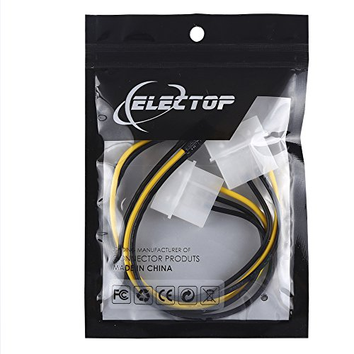 Electop 3 Pin ATX Fan to 4 Pin Molex Connector Cable Fan Power Adapter Cable (2 Pack)