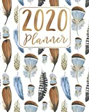 2020 Planner: 12 Month January to December Blue, Brown and Copper Bohemian Feathers Design - Weekly & Monthly One Year Planner Book - Boho Modern ... for Home, School or Office - Size 8x10