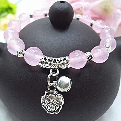 SUCICI Pulsera de Piedra Mujer, 7 Chakra Piedra Natural Beads Rose Cuarzo Brazalete Elástico Rosa Colgante Joyería Yoga Energía Ora Charm Difusor Regalo para Pareja