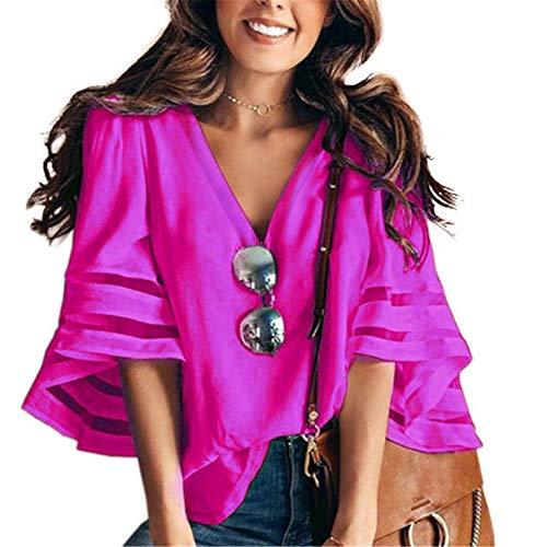 JIER Damen V Ausschnitt Mesh Panel Bluse 3/4 Bell Sleeve Beiläufige Lose Top Shirt T-Shirts Tunika Shirts Pullover Sweatshirt Mode Tank Tops (Pink,X-Large)