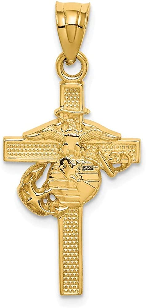 Solid 14k Max Fresno Mall 67% OFF Yellow Gold Marine Pendant Cross Corps Military Charm