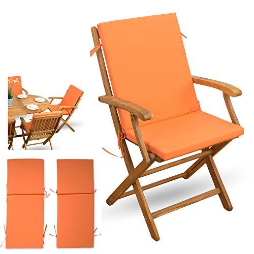 XINRO® 2-TLG Auflagen Set mit Rückenteil # orange # für verstellbaren Klappstuhl Sitzgruppen Holzklappstuhl Gartenstuhl Holz Gartenmöbel # 2X Sitz Auflagen mit Rückenteil