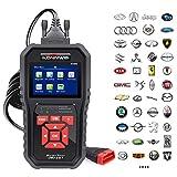 KONNWEI KW850 Enhanced OBD II Scan Tool Check Engine Reader Automotive Car Code Reader, Color Screen Full OBD2/ EOBD Function Diagnostic Scanner with O2 Sensor Test, I/M Readiness (Red)