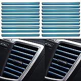 KAPROVER 20Piezas Coche Salida de Aire Tira Decorativa Aire Acondicionado, Tira de la decoración Interior del Coche, Molduras para Rejilla de Ventilación, Azul
